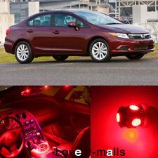 Red Bulb  Interior Light LED Bulb kit for Honda Civic 2006 -2012 Sedan Coupe