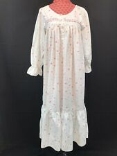 Vintage VICTORIA SECRET Nightgown Gold Label Medium Cotton Pink Floral EUC