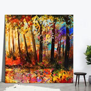 Landschaft Bäume Bild Bunt Leinwand Abstrakte Kunst Bilder Wandbilder XXL D2277