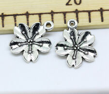 Tibetan silver charm pendant flower fit DIY Necklace 10-200pcs jewelry finding