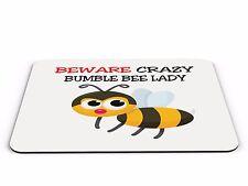 Tenga cuidado con Crazy Bumble Bee Lady Divertido Computadora PC Alfombrilla de ratón