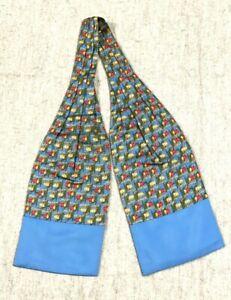 Vintage Auth HERMES Ascot Tie Horse patten 100% Silk Blue Multi-color #2109