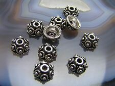 10 Bali STERLING SILVER 9mm Bead Caps <#754>