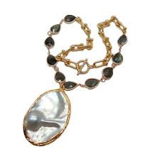 "Teardrop Labradorite Chain Necklace Big Mabe Pearl Pendant 18"""