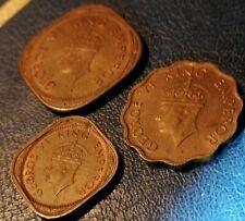 1944, India British, Lotto 3 Monete, 2, 1 e1/2 Anna