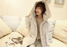 Women Lambwool Hooded Winter Thickening Warm Down Jacket Feather Long Coat Parka