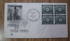 U.N. 1953, N.Y. #20, TECH. ASSISTANCE, INSC. BLK/4 ON FDC, NICE! LQQK!