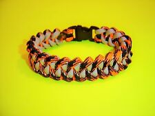 New 550 ParaCord Shark Jaw Bone ( Piranha ) Braid Bracelet - Tiger Camo & Silver