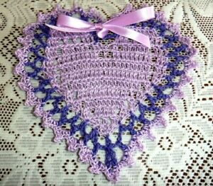 New Hand Crochet Heart Doily,=, Lilac, Purple, Ribbon, 6""