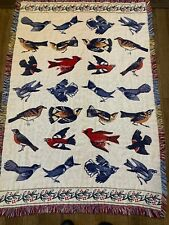 Song Birds Vintage Woven Blanket Throw Tapestry Cardinal Blue Jay Reversible