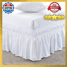 Wrap Around Bed Skirt Three Fabric Sides Elastic Wrap Around Dust Ruffled Solid
