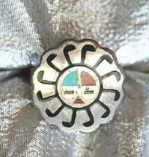 Bell Ancient Style Sterling Silver Turquoise & Coral Sun Face Ring 1970s vintage