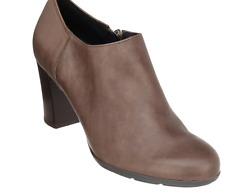 GEOX Leather Block Heel Shooties Short Boots Shoes Annya Taupe Womens 10 Booties