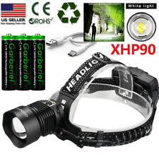 990000LM XHP90 LED Headlamp Zoom USB Rechargeable 18650 Headlight Powerful Light