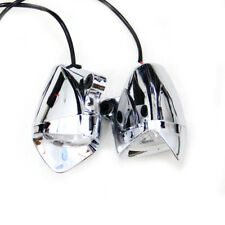 1 Pair-Triangle Chrome Motorcycle ABS LED Fog Spot Light Headlight Lamp DC12V