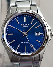 Casio MTP1183A-2AD Men's Analog Watch Blue Face Steel Band Classic New with Date