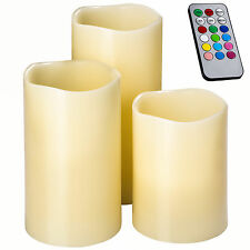 3x LED Kerzen mit Fernbedienung Farbwechsel Timer Echtwachskerzen Wachs