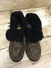 House Of Harlow 1960 Mallory Moccasins Boho Rapsody Beaded Black Size 9