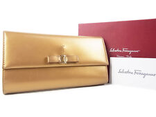 Auth Salvatore Ferragamo Vara Logos Leather Long Wallet Purse Gold 13656eSaB