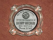 VTG ADVERTISING GLENAPP HATCHERY MANCHESTER IOWA IA GLASS AMES IN CROSS CHICKEN