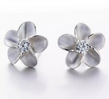 925 Silver Plated Tiny Hawaiian Plumeria Flower Daisy Cubic Stud Earrings 8mm E6