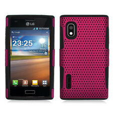 For LG Optimus Extreme L40G MESH Hybrid Silicone Rubber Skin Case Phone Cover