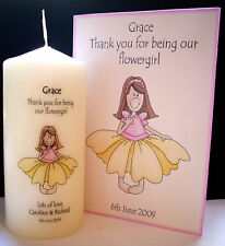 personalised thank you flower girl candle card gift set present favour keepsake