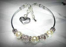 JEMS Ivory/White bridesmaid flower girl etcharm bracelet pearl personalised gift