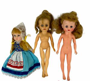 "Vintage Lot of 3 Dolls 2 Sleepy Eye 10"" Dolls 1 Horsman 1 Vogue Holland Doll"