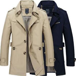 New Mens Trench Coat Cotton Business Slim Casual Long Windbreaker Jacket Outwear