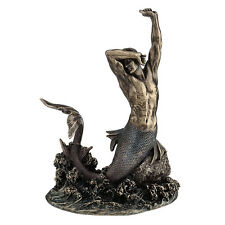Merman Stretching on Rock nautical home decor figure statue
