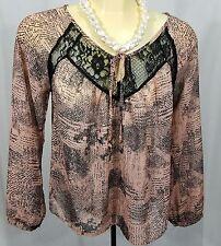 Lush Nordstrom Pink Black Patterned Blouse Shirt Size Medium