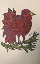 Sunset Hen Chicken Original Art