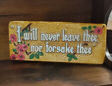 """Vintage Chalkware Plaque """"I Will Never Leave Thee Nor Forsake Thee"""" Bible Quote"""