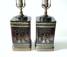 Pair Asian Tea Tin Table Lamps Frederick Cooper Cherry Blossom Chinoiserie lamps