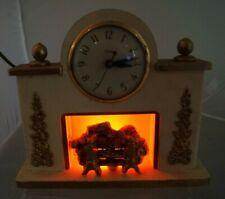 Vintage 1930s - 40s United - Lighted Fireplace Scene - Wood Shelf Mantle Clock