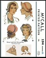 "Vintage McCall #194 Easter BONNET Hat & Bag Fabric Sewing Pattern GIRLS 22"" Head"