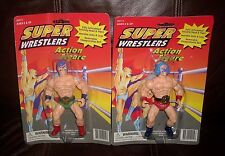 2 NEW VINTAGE HRADICAL DESIGNS SUPER WRESTLERS ACTION FIGURES IN PACKAGE TOY