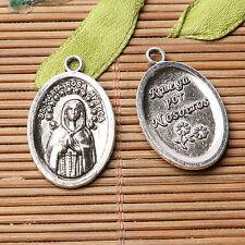 Tibetan silver plated maria oval charm pendants   10pcs  EF3563