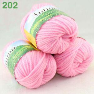Sale New Lot 3Ballsx50gr Hand Yarn Knitting Wool Silk Warm Wrap Shawl Scarf 202