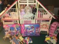 Vintage Barbie Dream House A-Frame - Includes Some Furniture and Some Barbies ++