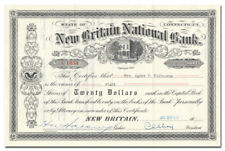 New Britain National Bank Stock Certificate