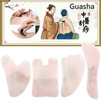 4Pcs / Set Naturel Gua Sha Visage Estampage Massage Outil Quartz Jade Board +A