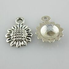 60pcs Tibetan Silver Sunflower Flower Charms Pendants Crafts Beads 9x12mm
