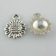 60pcs Tibetan Silver Sunflower Flower Charms Pendants Crafts Beads 9x12mm