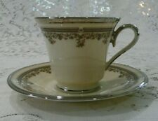 Lenox China Lace Point Pattern Platinum Trim Cup & Saucer