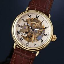 Men's Stauer 1779 Skeleton Watch Manual Wind Brown Leather Band 17 Rubies