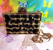 Belle By Badgley Mischka Gold tone Black Studs Minaudiere Clutch Purse Handbag
