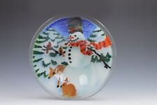 Peggy Karr Pressed Fused Glass Bowl Christmas Winter Snowman Deer Birds 8.5""