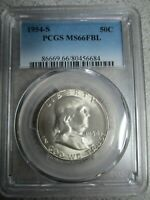 1954-S Franklin Half Dollar PCGS MS 66 FBL - BEAUTIFUL SILVER US MINT STATE COIN